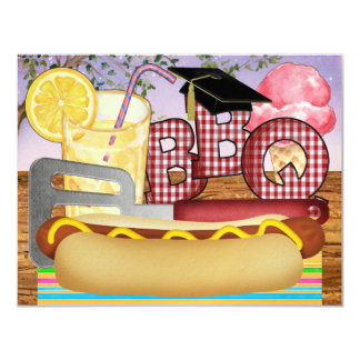 Graduation BBQ - Cookout Party - SRF 4.25x5.5 Paper Invitation Card