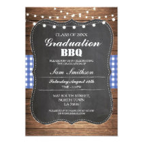 Graduation BBQ Invitation Blue Rustic Chalk