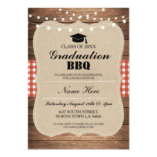 graduation bbq invitation red rustic wood zazzle com