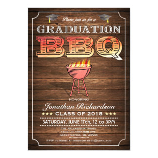 Graduation BBQ Invitations (Grill & Wood)