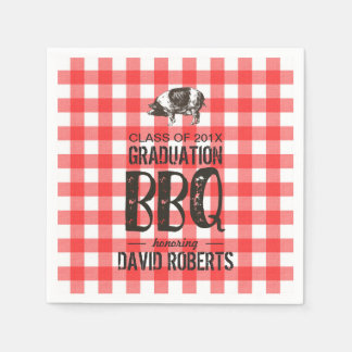 Graduation BBQ Party Red Gingham Pig Roast Napkin