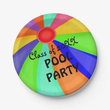 Beach Themed Graduation Beach Ball Pool Party With Year Paper Plate
