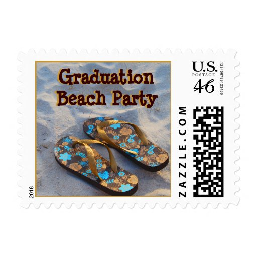 Graduation Beach Party Flip Flop Sandals Postage Stamps