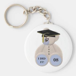 Graduation-Bear 2008 I DID IT! Basic Round Button Keychain