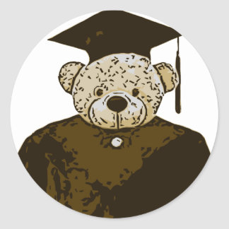 Graduation Bear Classic Round Sticker