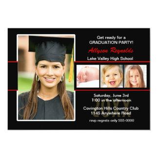 Graduation Black and Red Four Photo Invitation