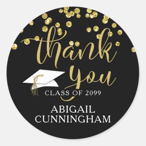 Graduation Black  Gold Confetti Script THANK YOU Classic Round Sticker