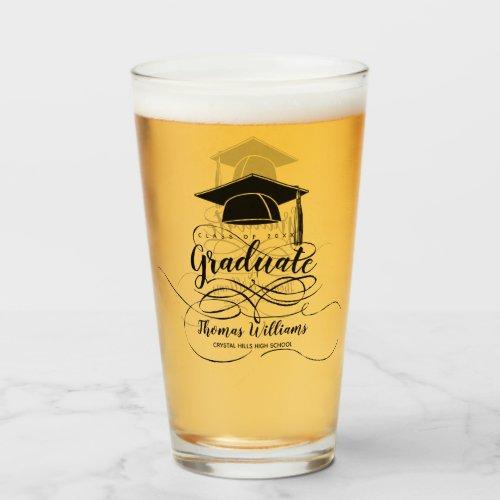 Graduation Black Grad Cap Monogram Name Glass