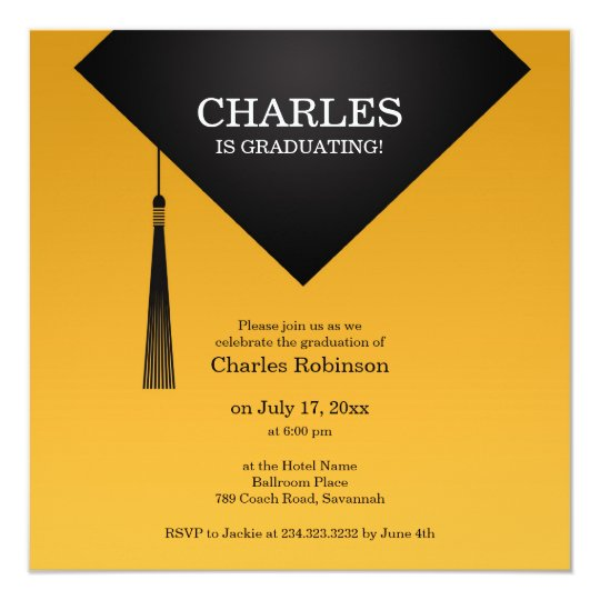 Graduation Black Hat Elegant Flat Invitation