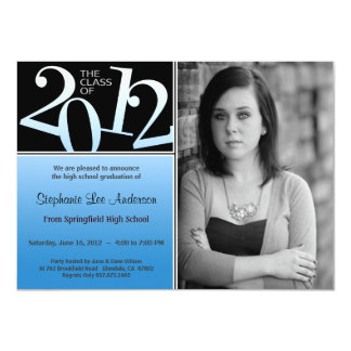 Graduation Black On Blue Invite