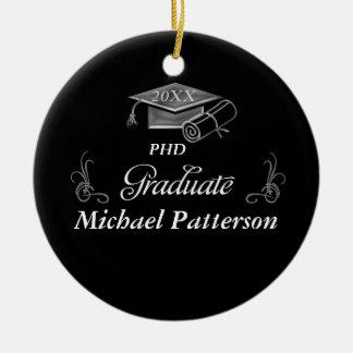 Graduation Black & Silver 3D Look, Cap & Diploma Ceramic Ornament
