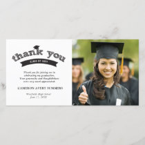 Graduation Black Sketch Grad Thank You Photo Card