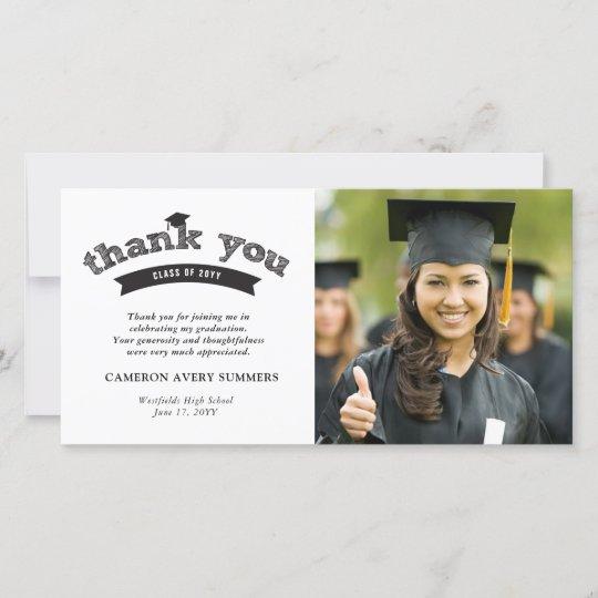 graduation black sketch grad thank you photo card  zazzle