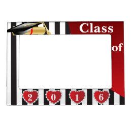 Graduation | Black & White Stripes Magnetic Picture Frame