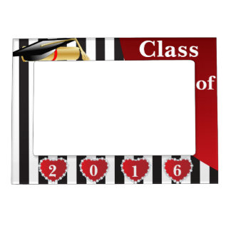 Graduation | Black & White Stripes Magnetic Picture Frame