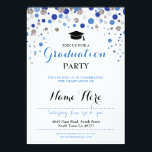 """Graduation Blue Silver Party Polka Dot Invite<br><div class=""""desc"""">Elegant look graduation party invite. Change the text to suit your party. Back print included</div>"""