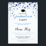 "Graduation Blue Silver Party Polka Dot Invite<br><div class=""desc"">Elegant look graduation party invite. Change the text to suit your party. Back print included</div>"