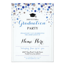 Graduation Blue Silver Party Polka Dot Invite