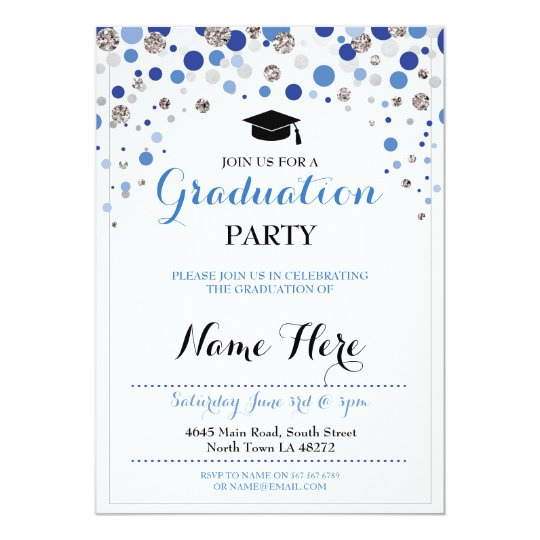 graduation blue silver party polka dot invite zazzle com