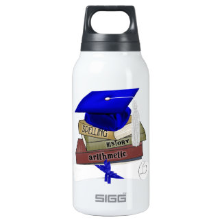 Graduation Books Cap and Diploma, Blue Insulated Water Bottle