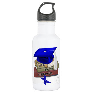 Graduation Books Cap and Diploma, Blue Stainless Steel Water Bottle