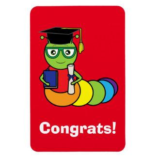Graduation Bookworm with Diploma Rectangular Photo Magnet