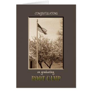 Graduation Boot Camp Congratulations vintage flag Greeting Cards