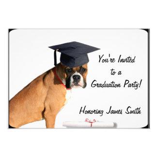 Graduation Boxer dog party invitation