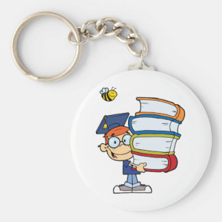 Graduation Boy With Books In Their Hands Basic Round Button Keychain