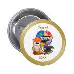 Graduation Button. Owl, Mortar cap, diploma, books