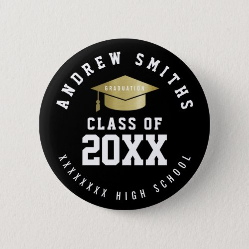graduation button with graduate name  class year