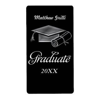 Graduation Cap and Diploma Black & Silver 3D Look Label