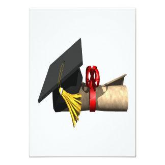 Graduation Cap And Diploma 5x7 Paper Invitation Card