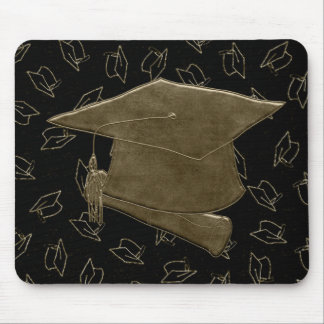 Graduation Cap and Diploma Mouse Pad, Brown, Black Mouse Pad