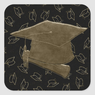 Graduation Cap and Diploma Mouse Pad, Brown, Black Square Sticker