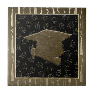 Graduation Cap and Diploma Mouse Pad, Brown, Black Tile