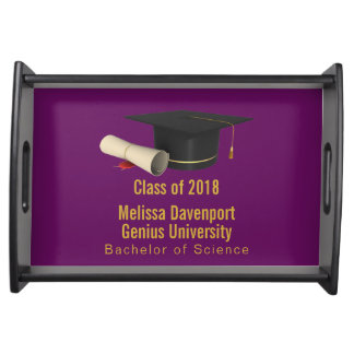 Graduation Cap and Diploma on Purple Class of 20XX Serving Tray