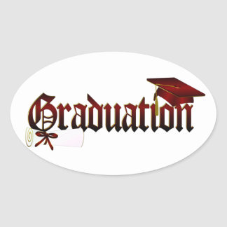 Graduation Cap and Diploma Oval Sticker