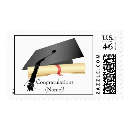 Graduation Cap and Diploma Postage Stamp