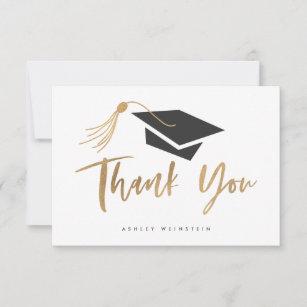 Graduation Cap and Tassel Gold Foil Thank You Card