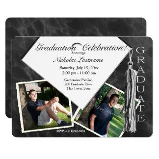 Graduation Cap and Tassel Marble Photo Card