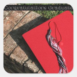 Graduation Cap and Tassle Square Sticker