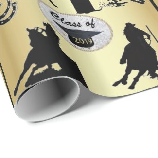 Graduation Cap Belt Buckle 2019 Cowgirls on Horses Wrapping Paper