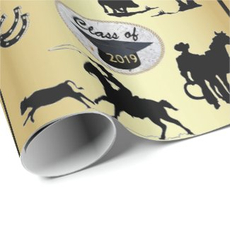 Graduation Cap Belt Buckle  Cowboy Roping Wrapping Paper
