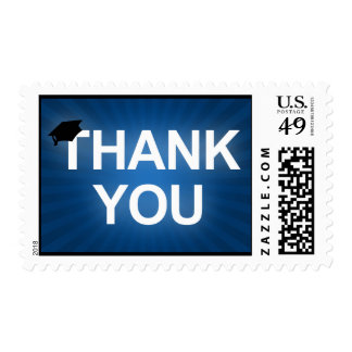 graduation cap : bold thank you postage stamp