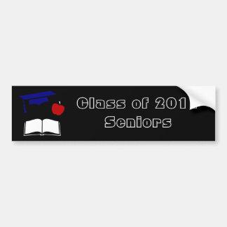 Graduation Cap Book Apple on Black Bumper Sticker