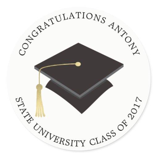 Graduation Cap Classic Round Sticker