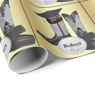 Graduation Cap Cowboy Boots 2019 Belt  Buckle Wrapping Paper