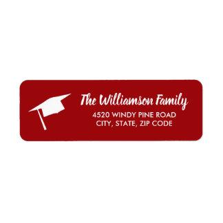 Graduation Cap Custom Color Return Address Label