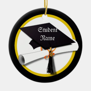 Graduation Cap & Diploma 1 Ceramic Ornament